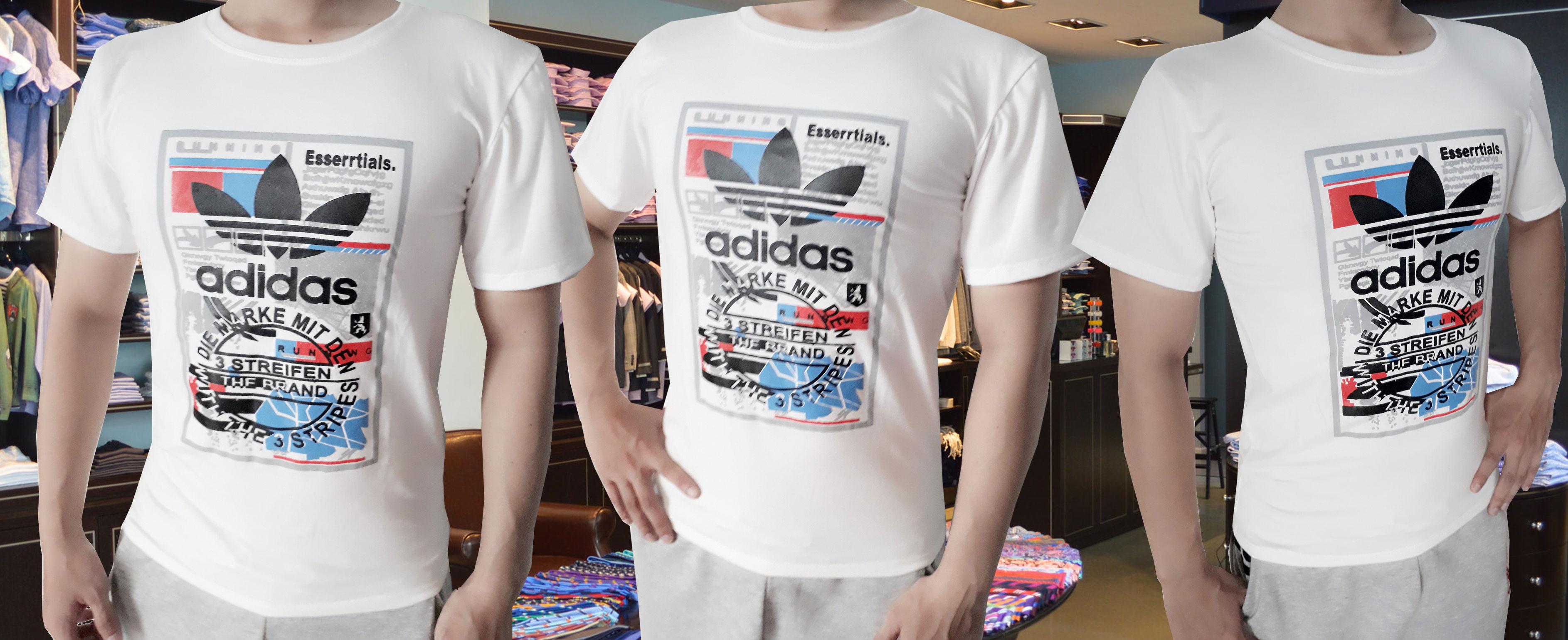 ao thun nam streifen adidas 2 - Áo thun nam streifen adidas trắng - AT44